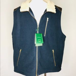 Orvis Sherpa Fleece Vest Navy Steel Blue